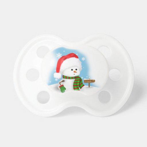 Pequeños pacificadores del muñeco de nieve chupetes