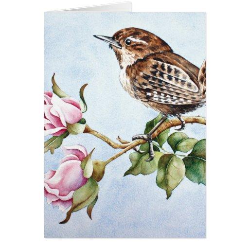 Pequeños pájaro y rosas tarjetón