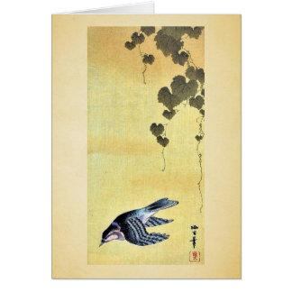 Pequeños pájaro y uvas Ukiyoe Tarjeton