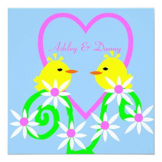 Pequeños pájaros amarillos invitación 13,3 cm x 13,3cm