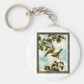 Pequeños pájaros amarillos llavero redondo tipo pin