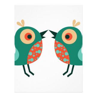 Pequeños pájaros plantilla de membrete
