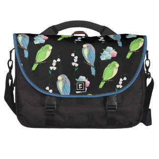 Pequeños pájaros y impresión floral lindos bolsas de portatil