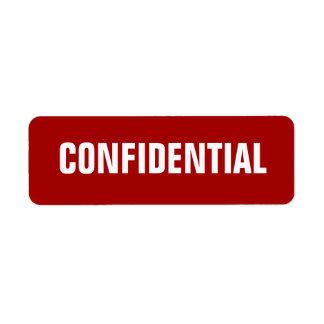 Pequeños pegatinas confidenciales rojos intrépidos etiqueta de remite