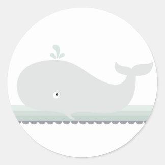 Pequeños pegatinas de la ballena {verde} el | etiquetas redondas