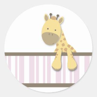 Pequeños pegatinas de la jirafa {rosa} el | etiqueta redonda