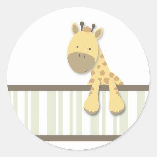 Pequeños pegatinas de la jirafa {verde} el   pegatina redonda