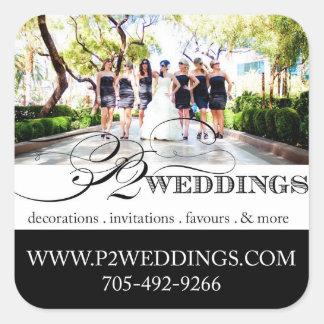 Pequeños pegatinas de los bodas P2 Pegatina Cuadrada