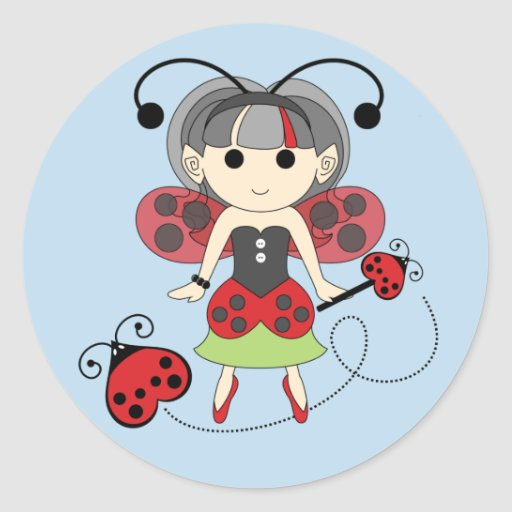 Pequeños pegatinas de Srta. Ladybug Girl Fairy Bug Pegatina Redonda