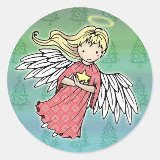 Pequeños pegatinas del ángel del navidad etiquetas redondas