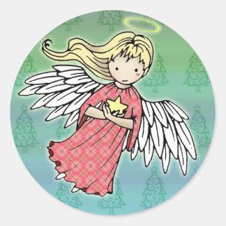 Pequeños pegatinas del ángel del navidad pegatina redonda