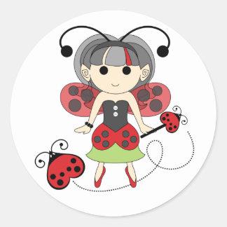 Pequeños pegatinas del círculo de Srta. Ladybug Etiquetas Redondas