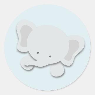 Pequeños pegatinas del elefante el | {azul} pegatina redonda