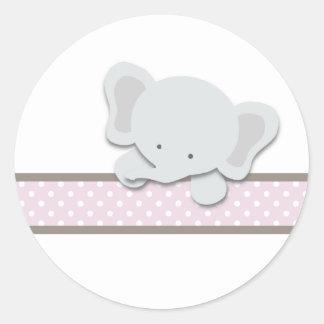 Pequeños pegatinas del elefante {rosa} el | etiqueta redonda