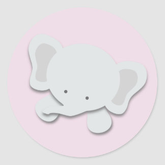 Pequeños pegatinas del elefante {rosa} el   pegatina redonda