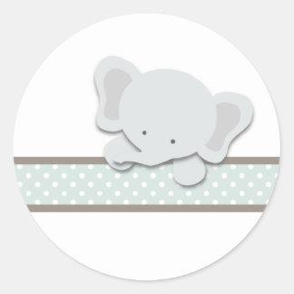 Pequeños pegatinas del elefante {trullo} el   pegatina redonda