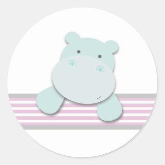 Pequeños pegatinas del hipopótamo rosa el