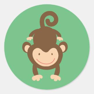 Pequeños pegatinas del mono pegatina redonda