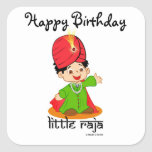 Pequeños pegatinas del Raja del feliz cumpleaños Pegatinas Cuadradas Personalizadas