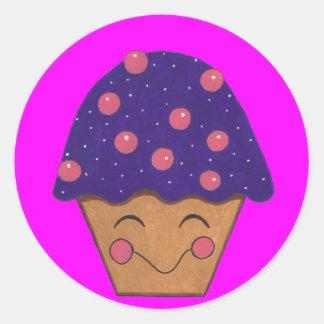 Pequeños pegatinas felices de la magdalena pegatina redonda