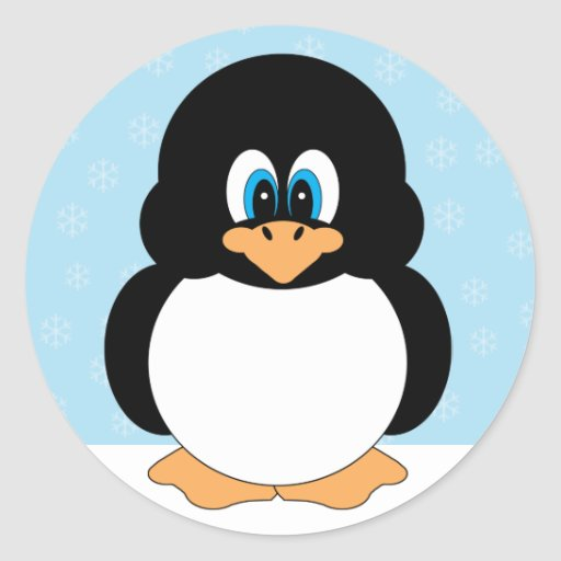 Pequeños pegatinas lindos del pingüino del dibujo pegatina redonda