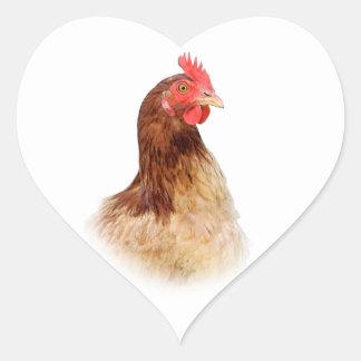 Pequeños pegatinas rojos de la gallina calcomanía de corazón