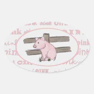 Pequeños pegatinas rosados del cochinillo pegatina ovalada