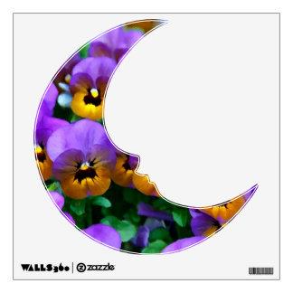 Pequeños pensamientos púrpuras arreglados en oro vinilo decorativo