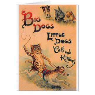 Pequeños perros de los perros grandes tarjeta de felicitación