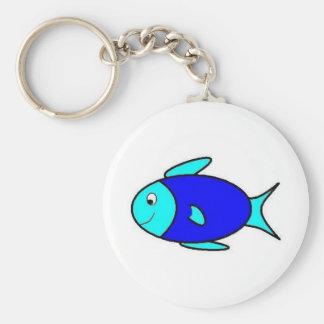Pequeños pescados azules llavero redondo tipo pin
