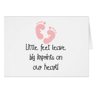 Pequeños pies de rosa grande de las impresiones tarjeta de felicitación