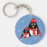 Pequeños pingüinos lindos. Llavero del regalo del