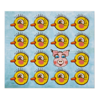 Pequeños polluelo y cerdo lindos. poster
