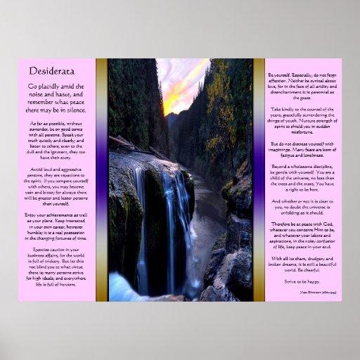 Pequeños posters de las cascadas de los desiderátu