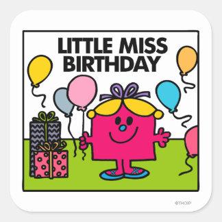 Pequeños presentes y globos de Srta. Birthday el   Pegatina Cuadrada