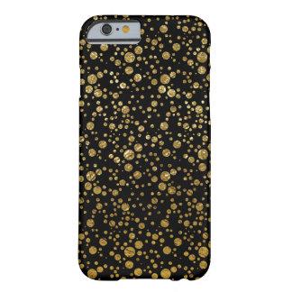 pequeños puntos de oro en negro funda para iPhone 6 barely there