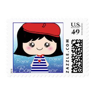 Pequeños sellos franceses lindos del dibujo animad