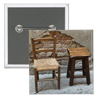 Pequeños silla y taburete, Pienza, Italia Pin