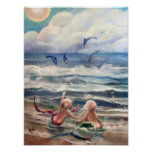 Pequeños sirenas y poster de los delfínes