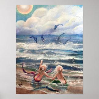 Pequeños sirenas y poster de los delfínes póster