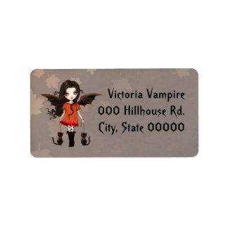Pequeños vampiro y gatos lindos Halloween Etiqueta De Dirección