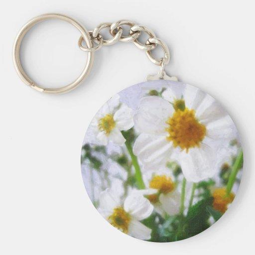 Pequeños Wildflowers blancos 1 Llavero Redondo Tipo Pin
