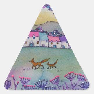 Pequeños zorros pegatina triangular