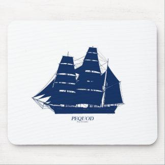 pequod ship blue design mouse pad