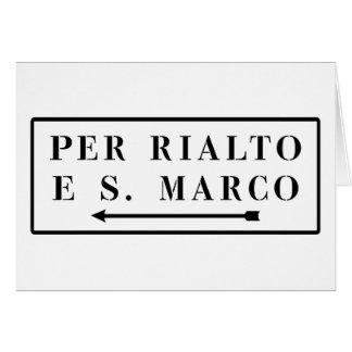 Per Rialto e S. Marco, Venice, Italian Street Sign Greeting Card