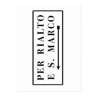 Per Rialto e S. Marco, Venice, Italian Street Sign Postcard