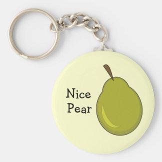 Pera agradable -- Diseño con sabor a fruta, coquet Llavero Redondo Tipo Pin
