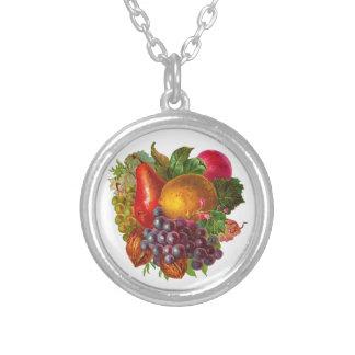 Pera, uva, limón, Apple, y nueces del vintage Collar