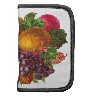 Pera, uva, limón, Apple, y nueces del vintage Planificadores