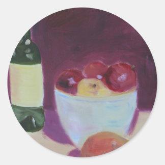 """""""Pera y manzanas """" Pegatina Redonda"""